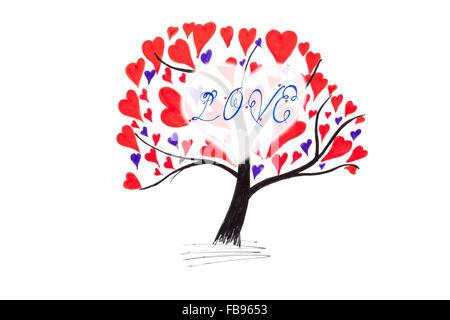 Handgemachte Valentine Karte mit Tusche-Zeichnung der Baum mit Herz