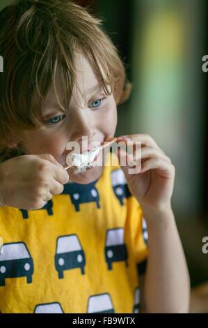 Schweden, Vastergotland, Lerum, Boy (6-7) essen Huhn - Stockfoto