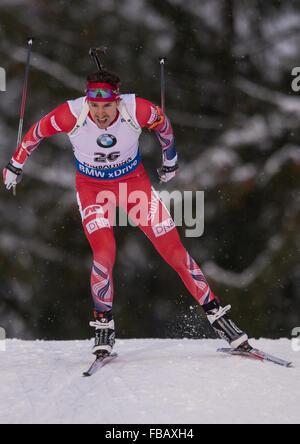 Ruhpolding, Deutschland. 13. Januar 2016. Norweger Emil Hegle Svendsen in Aktion während der Mens 20km-Rennen am - Stockfoto