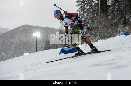 Ruhpolding, Deutschland. 13. Januar 2016. Erik Lesser Deutschland in Aktion während der Männer 20km Lauf bei den - Stockfoto
