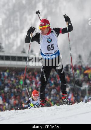Ruhpolding, Deutschland. 13. Januar 2016. Jeremy Finello der Schweiz in Aktion während der Männer 20km Lauf bei - Stockfoto