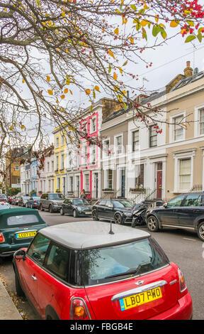 Herbst Farben Straßenszene Denbigh Terrasse Notting Hill London england - Stockfoto