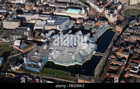 Luftaufnahme von Prinzessin Quay Einkaufszentrum in Hull, UK - Stockfoto