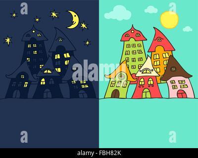 Niedlichen Cartoon Straße Tag und Nacht - Stockfoto