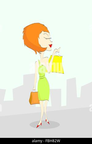 Cartoon-Frau mit Einkaufstüten. - Stockfoto