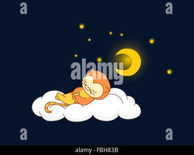 Süßes Kind Katze Kostüm auf einer Wolke schlafen - Stockfoto
