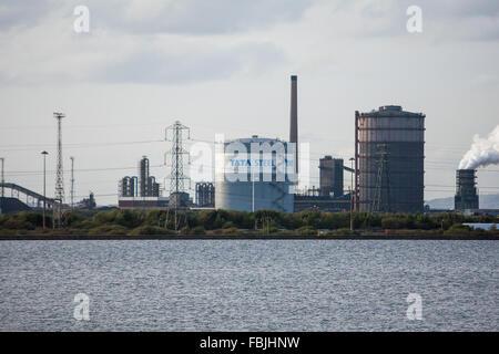TATA Steel funktioniert, Pflanze Port Talbot, Wales, Vereinigtes Königreich. Das indische Unternehmen 750 Arbeitsplätze im Werk Port Talbot in Wales geschnitten.