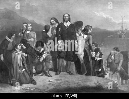 Pilgerväter. Eine Darstellung der Landung der Pilgerväter in Amerika im Jahre 1620 - Stockfoto