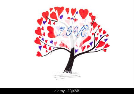 Valentine-Karte mit Baum und Herzen isoliert auf weiss
