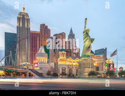Abend in das New York New York Hotel and Casino in Las Vegas - Stockfoto