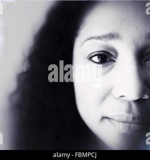 Extreme Nahaufnahme Portrait Frau - Stockfoto