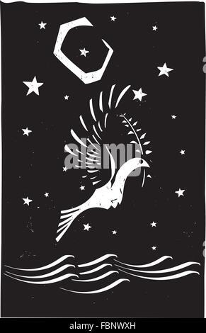 Holzschnitt-Stil Bild der biblischen Taube mit einem Olivenzweig zu Noah zurück - Stockfoto