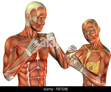 Mann und Frau posieren in Kämpfer - Stockfoto