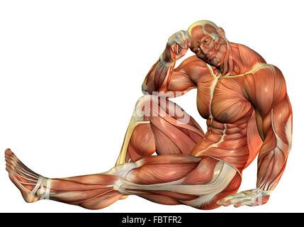 Muskel Bodybuilder in einer sitzenden pose - Stockfoto