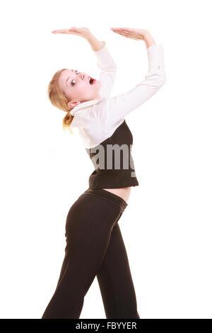 Geschäftsfrau entfernt leere Kopie Raum drängen - Stockfoto