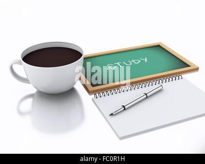 3D Editor und eine Tasse Kaffee. Studienkonzept auf whi - Stockfoto