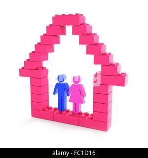 Wir bauen ein Haus für die Familie Stockfoto