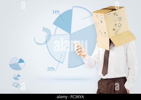 Zusammengesetztes Bild von anonymen Geschäftsmann mit seinem smartphone - Stockfoto