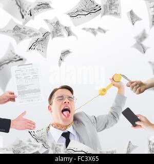 Zusammengesetztes Bild der Geschäftsmann im Anzug, mit seiner hand - Stockfoto