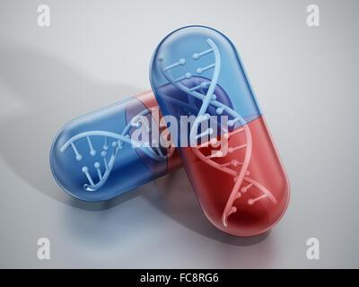 DNA-Helix in Pille Kapseln stehen auf reflektierende Oberfläche. - Stockfoto