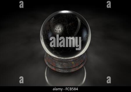 Eine regelmäßige Kristallkugel auf eine isolierte dunklen Studio-Hintergrund - Stockfoto
