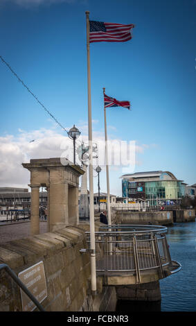 die Mayflower Schritte, plymouth - Stockfoto