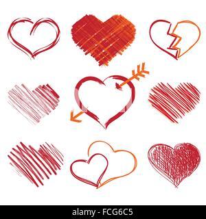 Eine Gruppe von handgezeichneten Herz Symbole, Vektor - Stockfoto