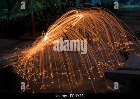 Stahl Wolle spinnen, Kuala Lumpur, Malaysia. - Stockfoto