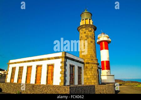 Leuchtturm in Fuencaliente Gemeinde. Insel La Palma. Kanarischen Inseln. Spanien. - Stockfoto