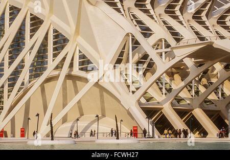 Detail der Príncipe Felipe Sciences Museum, Stadt der Künste und Wissenschaften, von S. Calatrava. Valencia. Spanien - Stockfoto
