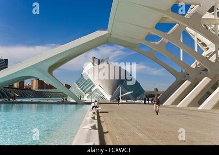 Príncipe Felipe Sciences Museum und das Hemisferic, Stadt der Künste und Wissenschaften, von S. Calatrava. Valencia. - Stockfoto