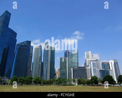 Panorama von Singapur City am Boat Quay, Financial District, Singapur, Asien - Stockfoto