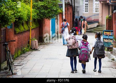 Schulkinder in Kathmandu, Nepal - Stockfoto