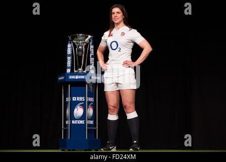 Hurlingham Club, London, UK. 27. Januar 2016. Womens England Kapitän Sarah Hunter. RBS 6 Nations Rugby Turnier wird - Stockfoto