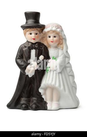 Alten Putz Braut und Bräutigam Kuchen Topper isoliert auf weißem Hintergrund - Stockfoto