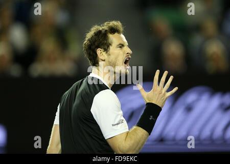 Melbourne, Australien. 29. Januar 2016. Andy Murray aus Großbritannien reagiert während das Halbfinale des Herren - Stockfoto