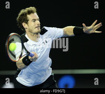 Melbourne, Australien. 29. Januar 2016. Andy Murray aus Großbritannien konkurriert gegen Milos Raonic of Canada - Stockfoto