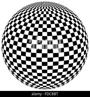 Ball, Kugel mit karierten Oberfläche auf weiß. Abstrakte surrealistische, surreale grafisches Element. Vektor - Stockfoto