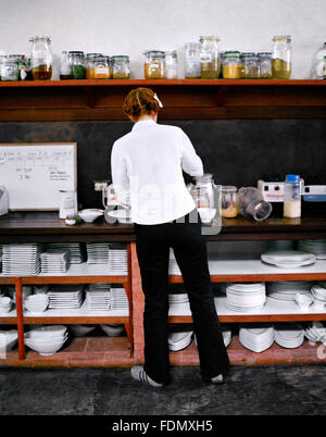 Amerikanische Raw Food Chef Karen Parker bereitet eine Mahlzeit in der Küche auf der Farm in San Benito, Lipa City, - Stockfoto