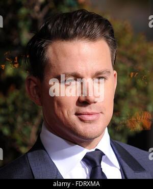 """Westwood, Kalifornien, USA. 1. Februar 2016. Channing Tatum kommt für die Premiere des Films """"Hail Caesar"""" im Dorf - Stockfoto"""