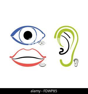 Menschliche Anatomie Symbole für Auge, Mund, ein offenes Ohr - Stockfoto