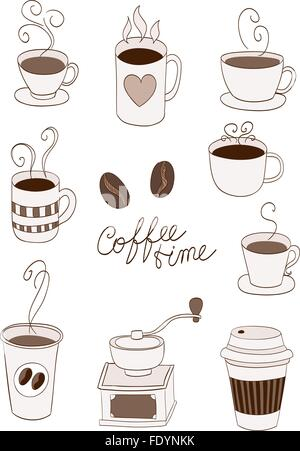 Kaffee Elemente, Tassen, Tasse, gehen, Bohnen doodle - Stockfoto