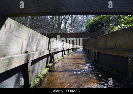 Ein Low down-Ansicht eines Wassers tragen Flume gemacht aus Holz - Stockfoto