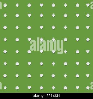 nahtlose Muster der Spielkarte passt auf grünem Hintergrund. Vektor-Hintergrund-Design. Herz, Pik, Karo und Clubs - Stockfoto