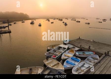 Central Coast; Maine: Morgennebel auf einem Fischerhafen und Jolle dock - Stockfoto
