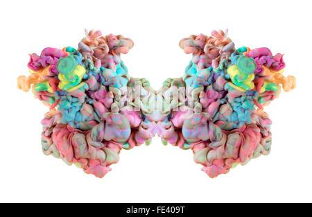 Eine bunte Tinte Drop wirbelnden in Wasser, entsteht eine organische Form von seidiger Struktur, mit warmen Farbtönen. - Stockfoto