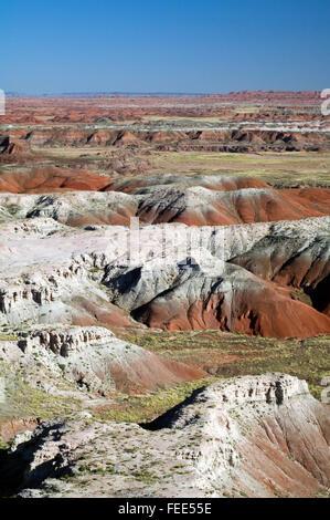 Painted Desert, Teil des Petrified Forest National Park, 50.000 Hektar Ödland, Arizona, USA, bunten Mesas und buttes - Stockfoto