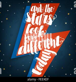Und die Sterne sehen ganz anders heute typografische Anführungszeichen auf stilisierten Blitz Blitz Abbildung auf - Stockfoto