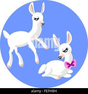 Zwei weiße Cartoon sanften Lamm - Stockfoto