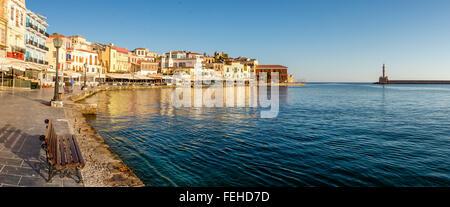 Panorama des Hafens von Chania, Kreta, Griechenland - Stockfoto